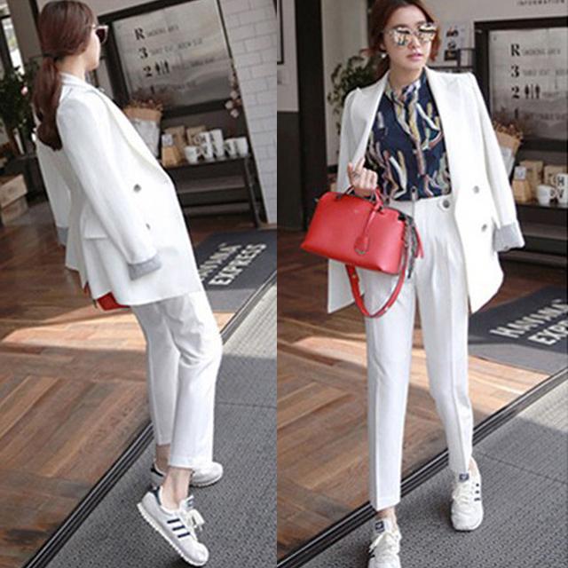 Nova moda casual feminino temperamento terno paletó calças two-piece-do868
