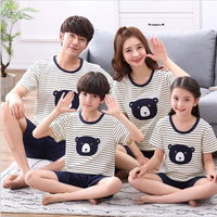 Parent child pajamas short sleeved cotton summer family suit children pajamas female mother father child home service sleep wear