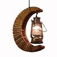 Изгиб бамбук moon лампа цепь Подвеска Свет боди с керосиновая лампа Гостиная кулон ресторан лестницы коридор подвесной светильник