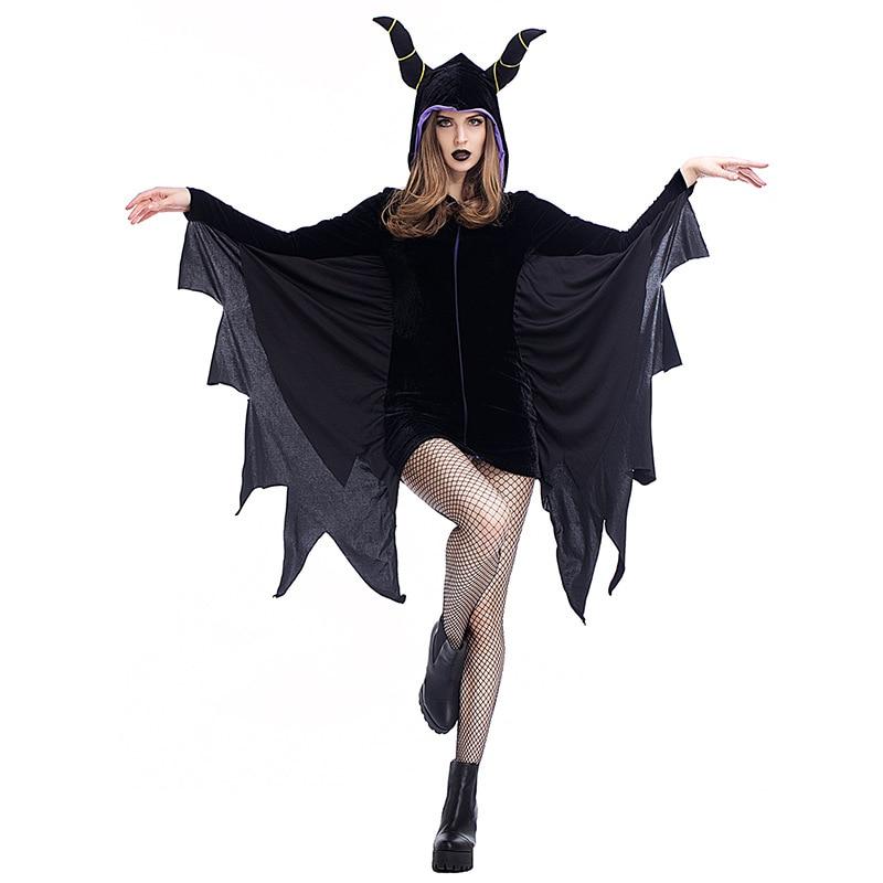 Woman Halloween Cosplay Costumes Sleeping Beauty Superhero Bat Woman Cosplay Costumes Black Batwing-Sleeved Dress Ox Horn Set