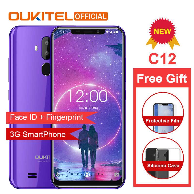 """هاتف ذكي OUKITEL C12 3G معرف الوجه 6.18 """"19:9 بصمة الهاتف المحمول Android8.1 MTK6580 رباعية النواة 2G RAM 16G ROM 3300mAh فتح"""