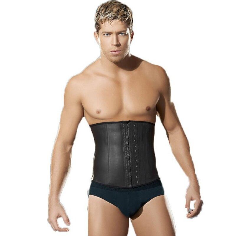 fc20df7a359f ... hombre látex corsé Underbust XXXL cintura entrenador 9 Acero deshuesado  cuerpo caliente Shaper cinturón corsé faja de los hombres cinta Modeladora
