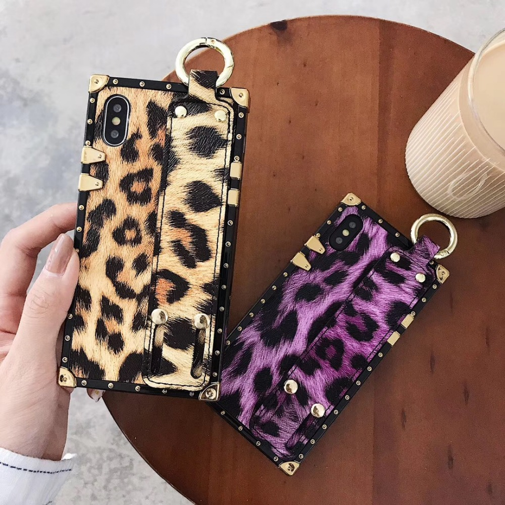 Leopard print wrist band case For vivo X9 X9S X20 Plus X23 swrist strap bracket Square soft Female phone case