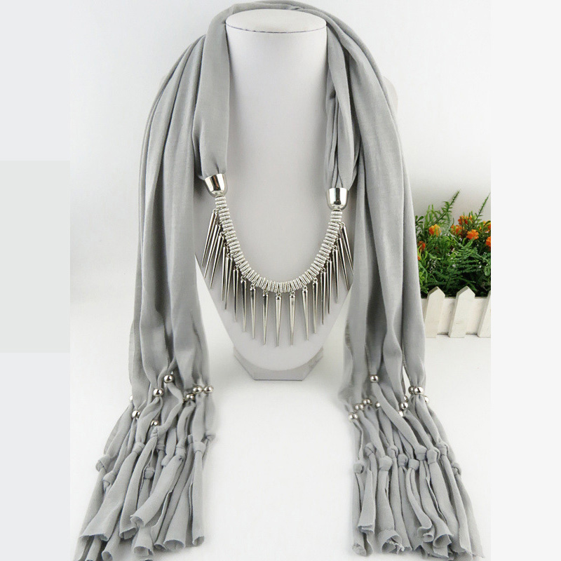 Spike Tassel Scarf Necklace pendants Scarves autumn Women Necklace Scarf charm bohemian jewelry gift stylish rose leaf tassel voile scarf