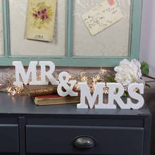 1 Set  MR & MRS White Wooden Sign Wedding Letters For Top Table Centerpiece Gift Decoration