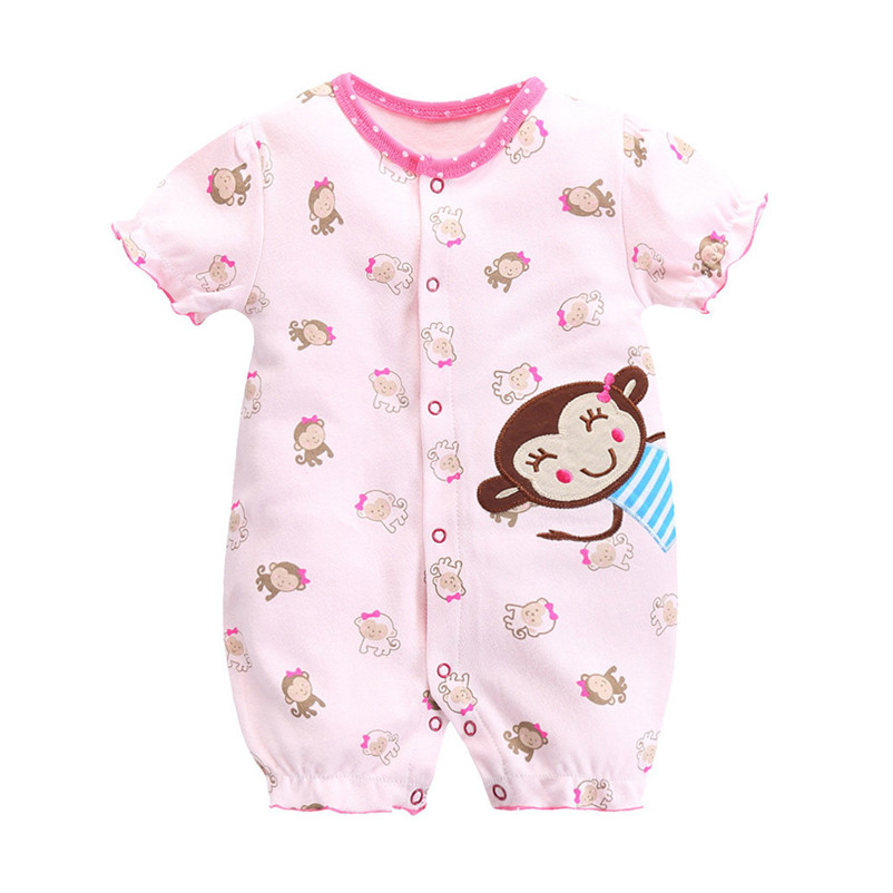 2018 Cotton Baby Onesies Summer Baby Girls Costumes Short Sleeve Dresses Baby Jumpsuits Newborn Clothes Rose Cotton Onesies P5