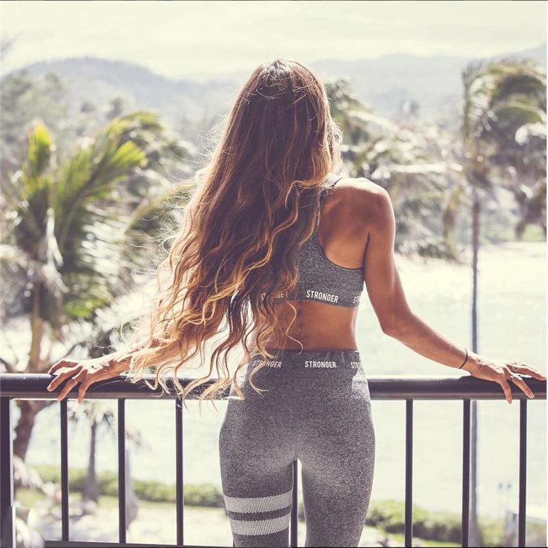2018 mujer Yoga Sets Fitness chaleco traje gimnasio ropa de entrenamiento corriendo Delgado Leggings Pilate Sport desgaste trajes del deporte Yoga pantalón