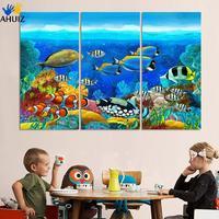 סיטונאי 3 יחידות אוקיינוס ציור שמן תמונת HD עיצוב הבית ללא מסגרת תמונה מודפסת על בד קישוט הבית
