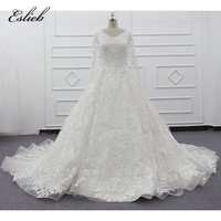 Eslieb 2019 new products Eslieb Guangzhou latest princess royal satin white V neck long sleeve wedding dress ball gown SJ009 3