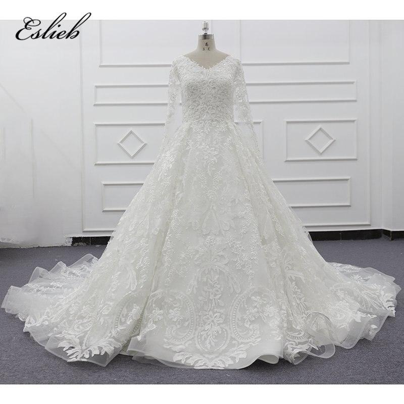 Eslieb 2019 nouveaux produits Eslieb Guangzhou dernière princesse royal satin blanc col en v à manches longues robe de mariée robe de bal SJ009-3