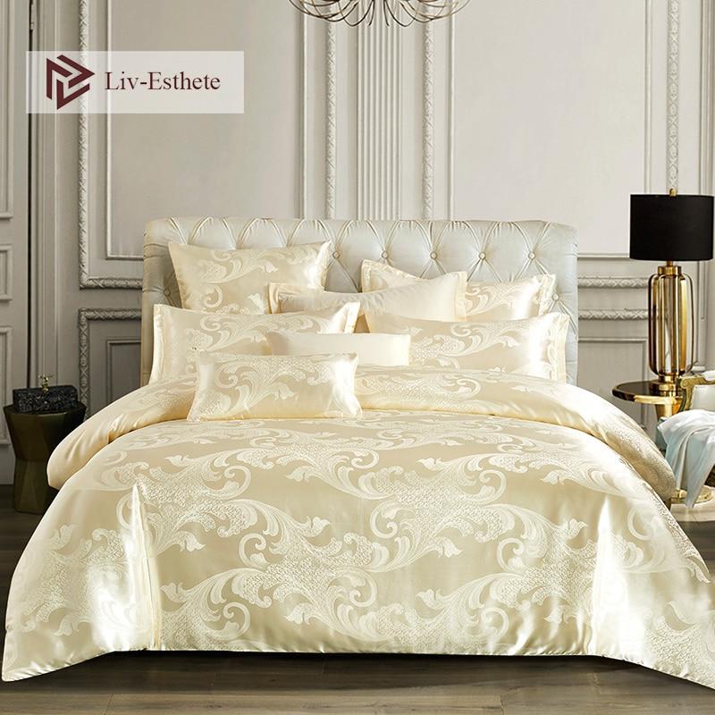Liv-Esthete 2019 Luxury Euro Jacquard Palace Bedding Set Double Adult Bedspread Flat Sheet Decorative Bed Linen Set Home Textile