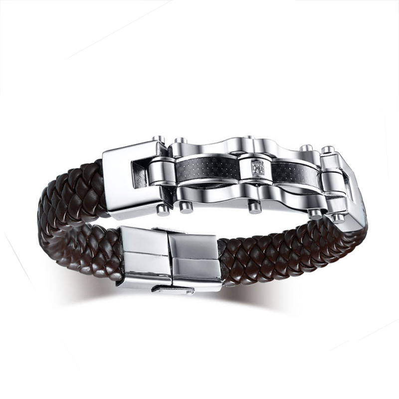 Stainless Steel Mens Carbon Fiber PU Leather Bracelet Handmade Brown Color Bracelets & Bangles Male Gift