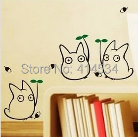 Decorative Removable Totoro Wall Stickers Decal For Home Stairs Sticker  Decals Black Stickers Chambre