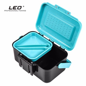 цена на LEO ABS Plastic Fishing Box Fishing Bait Case Earthworm Worm Lure Tackle Storage Box Portable Live Bait Storage Box