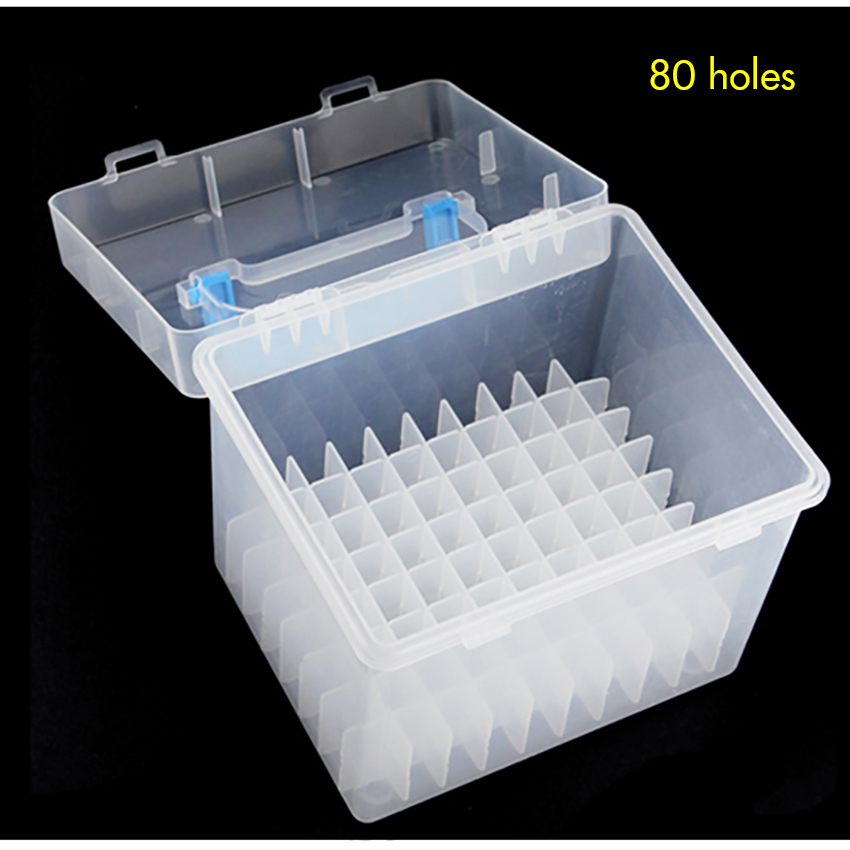 Clear 80 / 60 Holes Plastic Carrying Marker Case Holder Storage Organizer Box For Paint Sketch Markers - Fits For Markers Pen
