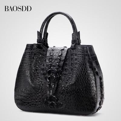 Ladies fashion buttons genuine crocodile bag leather bag of women