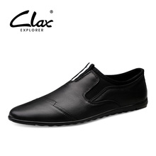 CLAX Mens Loafers 2019 Spring Summer Casual Leather Shoes Male Flats Moccasins Slip on Mans Shoe Genuine Boat