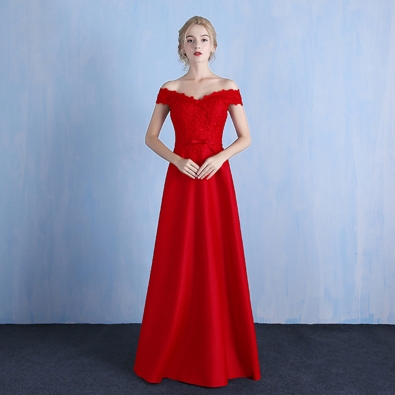 Holievery Red Lace Satin A Line   Bridesmaid     Dresses   with Bow 2019 Floor Length Wedding Party   Dress   Off Shoulder Sukienka Wesele
