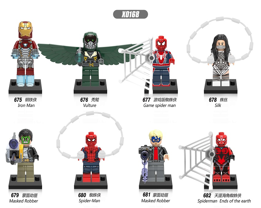 10Set X0168 Super Heroes Spider-Man Homecoming Iron Man Game Spiderman Vulture Masked Robber Silk Building Blocks Kids Gift Toys
