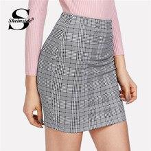 bf02f0e3d1 Sheinside Plaid imprimir bodycon falda mujeres moda gris Mediados de cintura  Falda corta 2018 verano Oficina damas elegante trab.