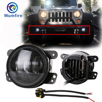 For Jeep Wrangler DOT Approved 2pcs 4Inch LED Round Waterproof Fog Lights Passing Lamps Offroad Drivng