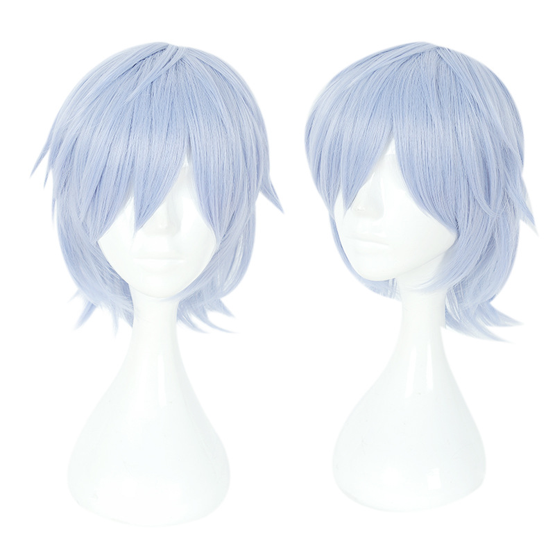 Anime Cosplay Headwear Yotsuba Tamaki Halloween Party Role Playing Short Hair Light Blue Lustrous Surface Costumes & Accessories