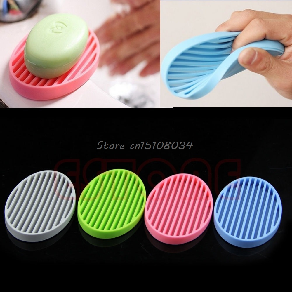 Fashion Silicone Flexible Soap Dish Plate Bathroom Soap Holder S08 Wholesale&DropShip