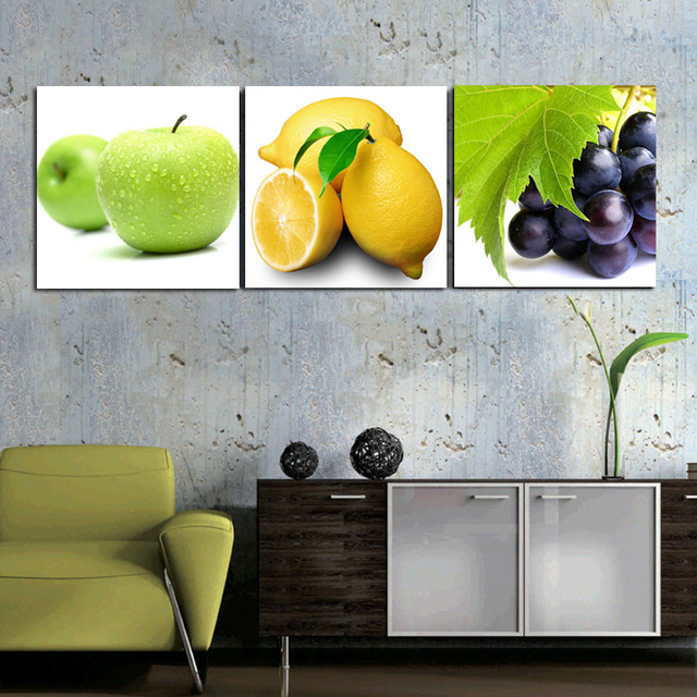 3 Panels Kitchen Fruit Decorative Canvas Painting Wall Hanging Combination  Modern Picture Dinning Room Art Decor