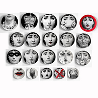 6 8 Inch Fashion Style Italy Designer Fornasetti Plate Decorative Hanging Plates Home Hotel Bar Background