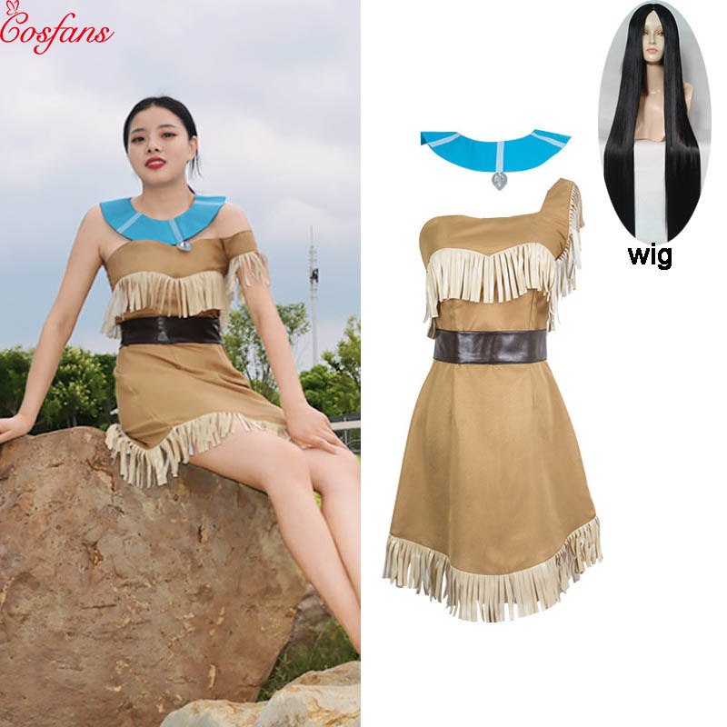 Girls Bueaty Princess Pocahontas Indian Cosplay Costume Halloween Outfit Adult Women Gift  Dress Belt Necklace Full Set And Wig