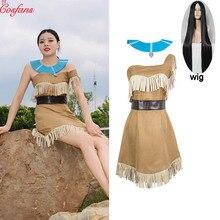 Kızlar güzellik prenses Pocahontas hint Cosplay kostüm cadılar bayramı kıyafet yetişkin kadınlar hediye elbise kemeri kolye tam set ve peruk