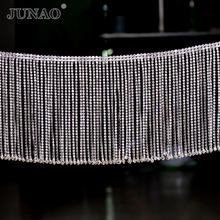 JUNAO 45cm Glitter AB Glass Rhinestone Trim Chain Crystal Fringe Tassel Strass Applique Sewing Metal Ribbon For Clothes Crafts