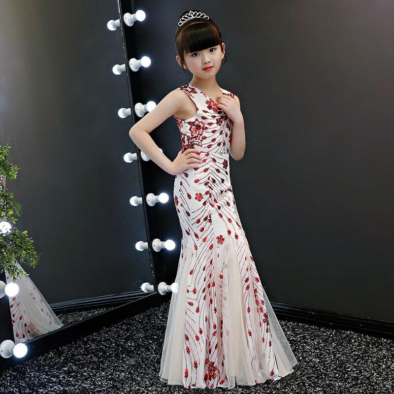 2018 nouvelle trompette anniversaire princesse robe v-cou fleur fille robes filles robe de fête pour mariage enfants longue Tutu robe de princesse