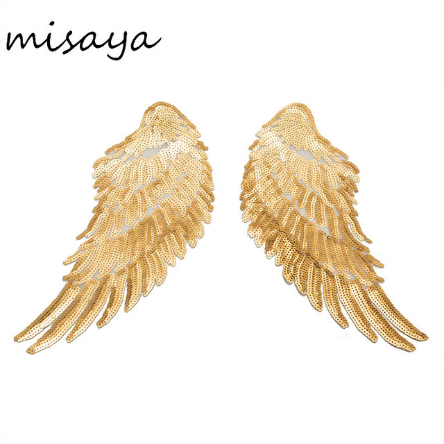 Wing Gold >> Misaya 1 Pairs Sequin Gold Silver Patch Paillette Lace Gold Wings