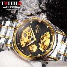 Bosck fotina marca de lujo reloj hombre esqueleto mecánico automático relojes hombres relogio masculino hombres reloj automático transparente