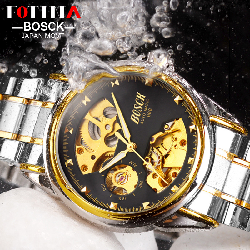 FOTINA Luxury Brand BOSCK Watch font b Man b font Automatic Skeleton font b Mechanical b