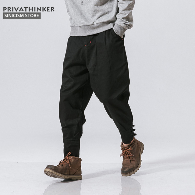 0e87644c11 Sinicism Store Cotton Linen Harem Pants Men Jogger Pants Male Fashion  Autumn Casual Trousers Chinese Button Cross Pants Trousers