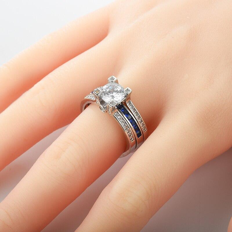 2 pz Anelli Di Cristallo D'argento di Fidanzamento Anello di Cerimonia Nuziale Per Le Donne Anello Gioielli