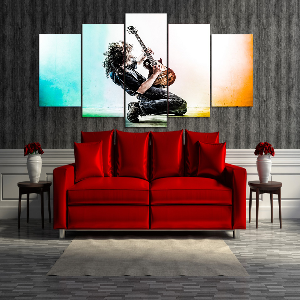 5 Panel Musical Instrument Guitar Modern HD Printed Canvas