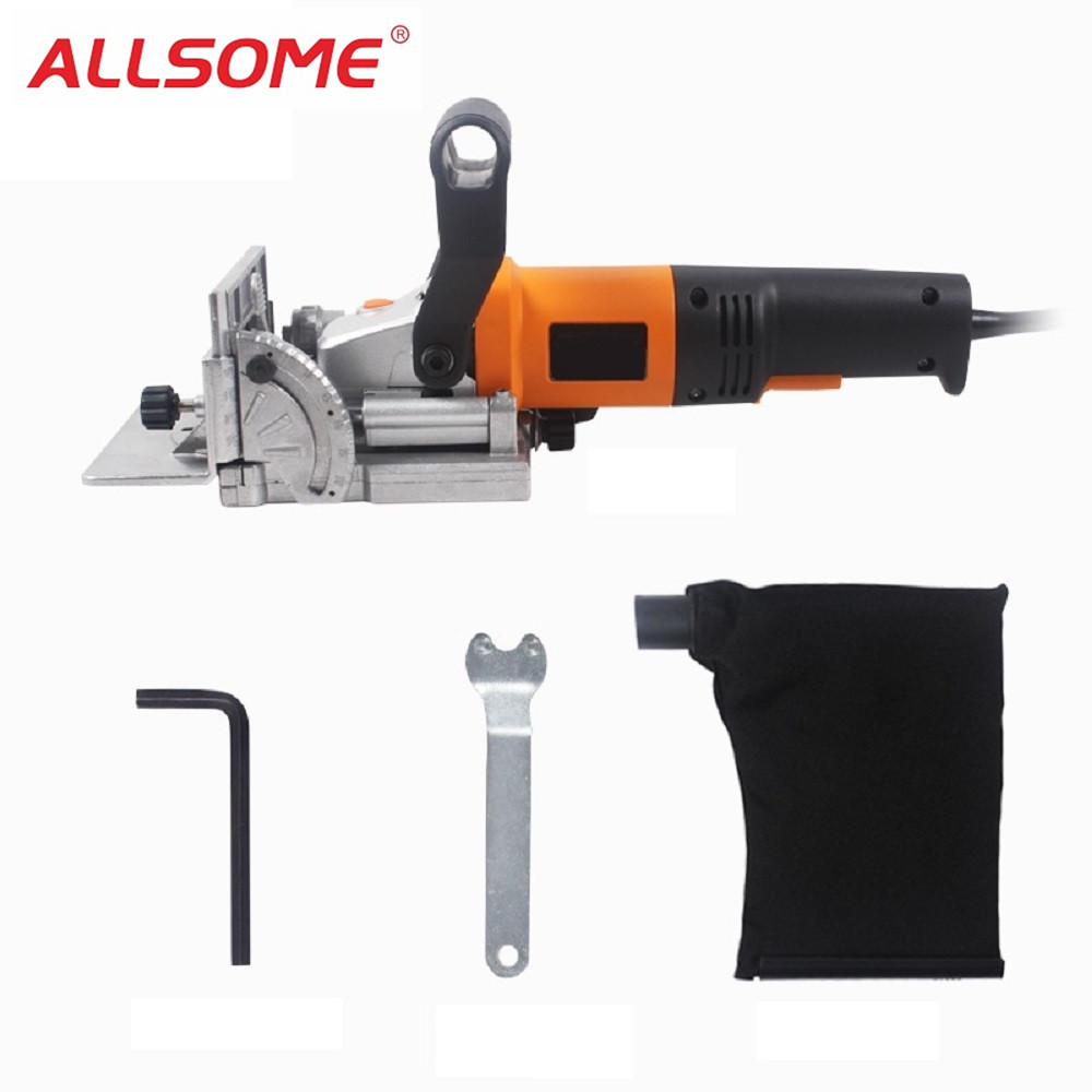 ALLSOME 760W Biscuit Jointer Woodworking Tenoning Machine Biscuit Machine Puzzle Machine Groover HT1928