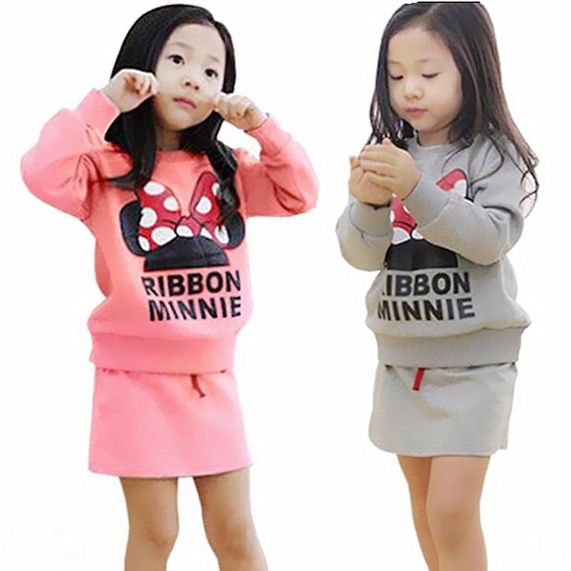 2018 წლის ბავშვთა ტანსაცმლის ნაკრები შემოდგომის გოგონების ტანსაცმელი Minnie მშვილდის ქვედაკაბა კოსტუმი ბავშვებს სარჩელით საბავშვო კოსტუმები საბითუმო საბავშვო ქვედაკაბა
