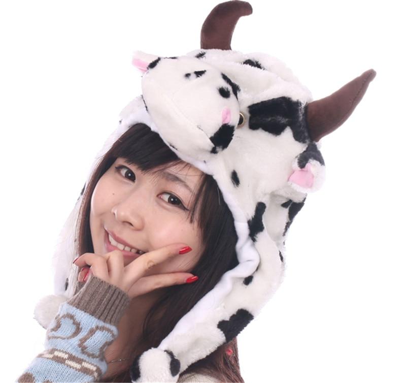 DOUBCHOW Cute Plush Earflap White Cow Animal Hats for Adults Womens Mens Teenagers Kids Boys Girls Winter Warm Beanie Cap