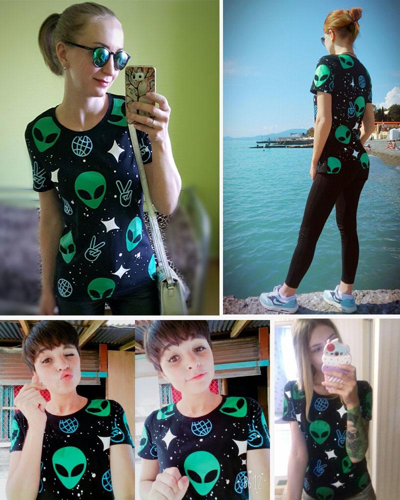 HTB1WBQCRFXXXXbraXXXq6xXFXXX2 - Punk Alien ET Print Black Short Sleeve T Shirt