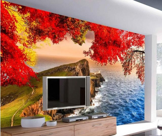 Home Decor Living Room Natural Art Beautiful Seaside Cherry Blossoms Wallpaper For Walls 3 D