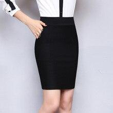 Office-Skirt Pocket Elastic Sexy Black High-Waist Spring--Winter Plus-Size Women Pencil