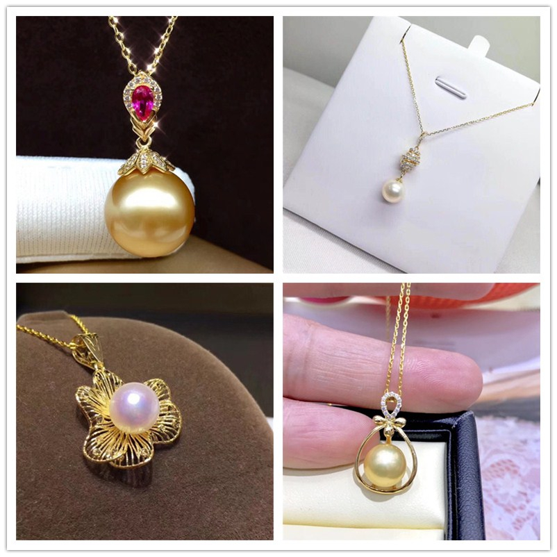 Livraison gratuite solide 18 k or jaune perle pendentif connecteur, tasse et cheville perle Cap, Dangle or fabrication de bijoux, pas de perle pas de chaîne