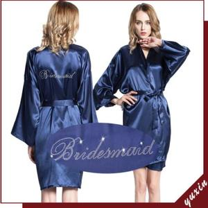 "Image 5 - Satin Faux Silk Wedding Bride Bridesmaid Robes,White Bridal Dressing Gown/ Kimono Bathrobes,""BRIDE""""BRIDE MAID"" Graphic on Back"