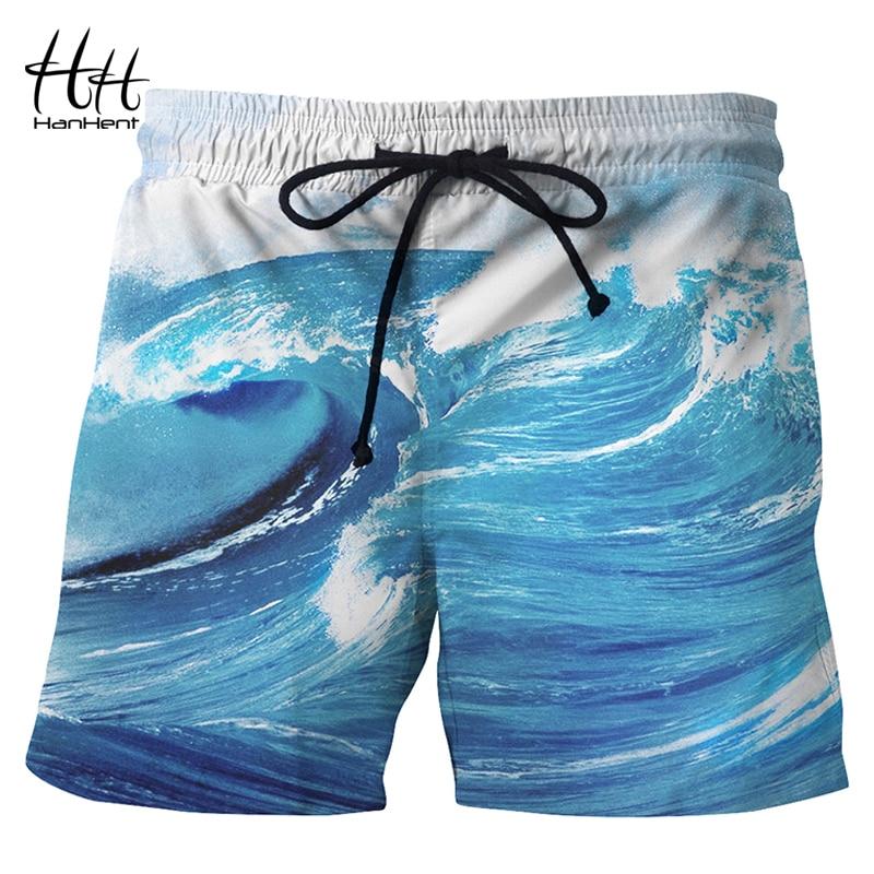 HanHent 3D Sea waves Print   Board     Shorts   Men European size Creative Summer Casual   Shorts   Teens 2018 Fashion Boys Beach   Shorts