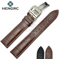 HENGRC Pulseiras 20mm 22mm Men Black Brown Genuine Leather Watch Band Strap Watch Acessórios e Implantação de Aço do Metal fecho