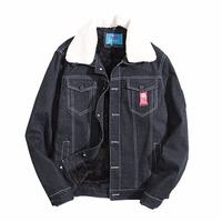 2017 Winter Denim Jacket Men Warm Thicken Wool Smart Jeans Coats Outerwear Thicken Mens Brand Clothing